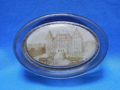 Vintage State Capitol Albany NY Glass Souvenir Paperweight