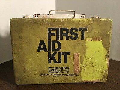 Vintage Yellow Wall Mounted Metal First Aid Kit w/ Supplies Marion Clearfield