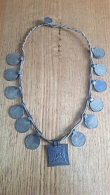 Collectors Unique Tribal Tharu Old Coin Necklace Choker Beads Jewellery #1