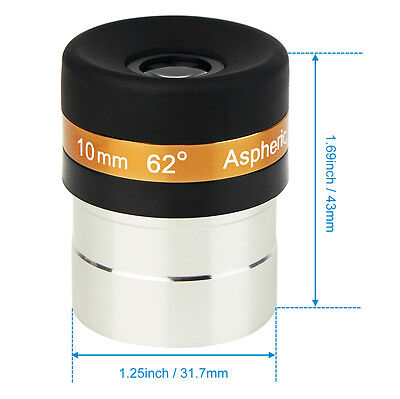 "1.25"" 31.7mm Wide Angle 62-Deg Eyepiece Lens 10mm Fully-Coated for Telescope es"