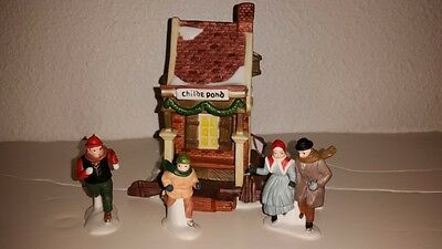 Dept 56 Dickens Series Childe Pond And Skaters Light Up House And Accessories