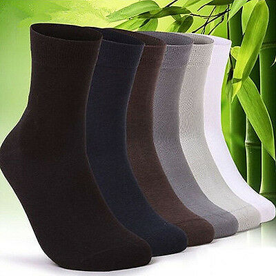 5 Pairs Men Business Solid Bamboo Fiber Breathable Casual Dress Socks Gift