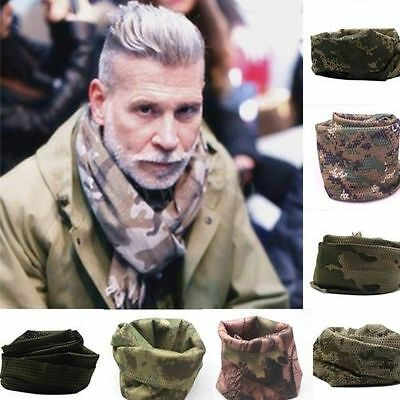 Mens Military Camouflage Scarf Wrap Veil Tactical Wrap Army Camo Mesh Face Mask