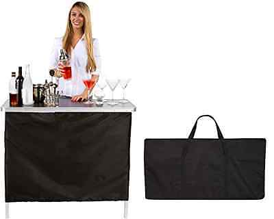 Portable Bar Table With Two Skirts Green Black Trademark Innovations Collapsible