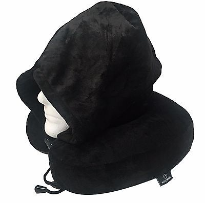 Memory Foam Pillow Neck Pillow Travel Pillow w/ Plush Micro Fleece Black Hoodie