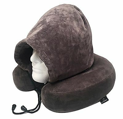 Memory Foam Pillow Neck Pillow Travel Pillow with Plush Micro Fleece Grey Hoodie