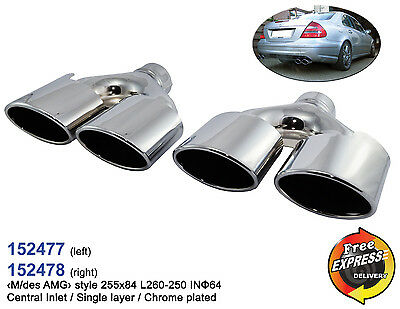 Exhaust tips quad Tailpipe dual Set S/Steel Chrome Plated for Mercedes Benz AMG