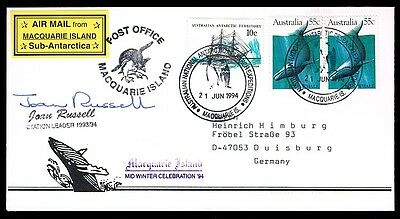 Antarctica • Macquarie Island • 1994 • To Germany • Signed by Station Leader
