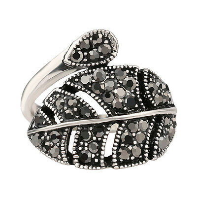 Black Marcasite Resin Micro Stone, Leaf Wrap Style Glamorous Women Fashion Ring!