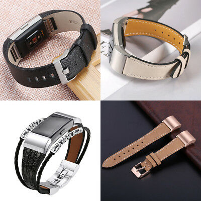Genuine Leather Wrist Watch Band Strap For Fitbit Charge 2 Large Small Wristband