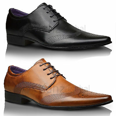 Mens New Italian Pointed Toe Leather Lined Wedding Formal Lace Up Shoes SIZES UK