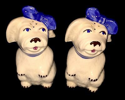 """VINTAGE SHAWNEE POTTERY MUGGSY WITH A TOOTHACHE SALT & PEPPER SHAKERS 5"""" Large"""