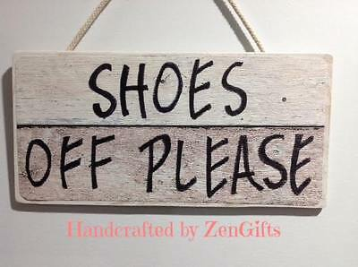 Shoes Off Please Sign to Kick or take your shoes off Remove shoe sign wood rope