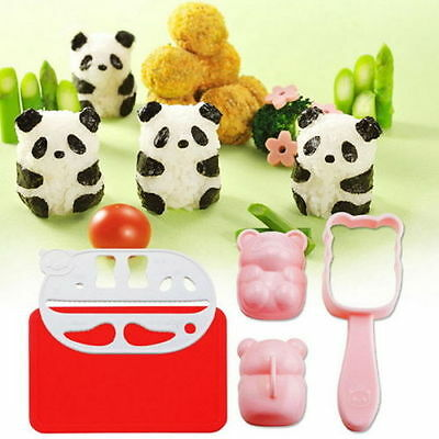 BENTO accessories Rice Ball Mold Mould with Nori Punch Sushi PANDA Shape Perfect