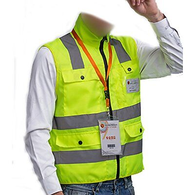 High Visibility Neon Green Zipper Front Breathable Safety Vest with Reflective S