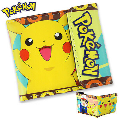Pokemon Pikachu PU Leather Wallet Purse Pocket Coin Card Holder for Kids Gift