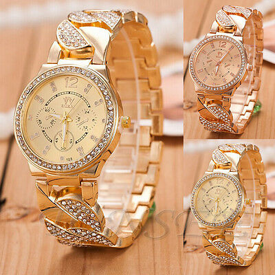 New Hot Crystal Geneva Bling Women Girl's Stainless Steel Quartz Wrist Watch