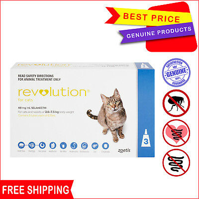 Revolution for Cats Flea Heartworm treatment 2.6 - 7.5 Kg Blue pack 3 Pipettes