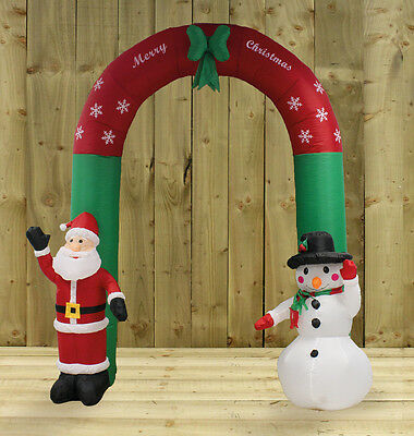 Inflatable Santa and Snowman Christmas Arch (240cm) by Kingfisher