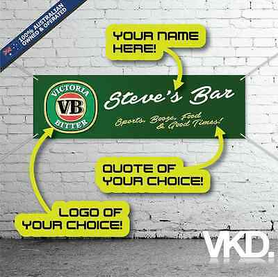 Custom Bar Banner - Personalised Husband Gift VB MB XXXX Jack Mancave Bar Beer