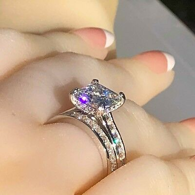 Engagement Ring: 2pc Bridal Set Real 925 Silver Princess Simulated Diamond Ring