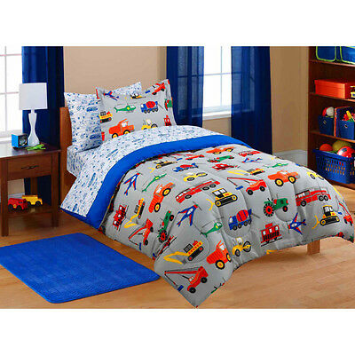 Transportation Coordinated Bedding Set Boys Tractors Cars Trucks Comforter Twin