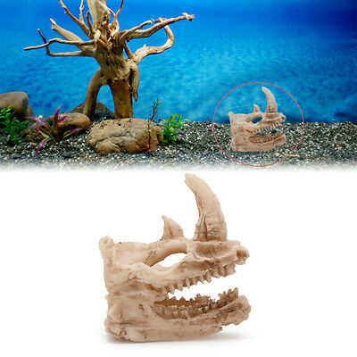 Aquarium Resin Rhino Skull Fish Decor Tank Ornament Decoration Landscaping New