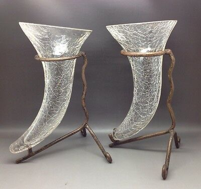 Pair Of Crackle Glazed Cornucopia Bases In Metal Stands