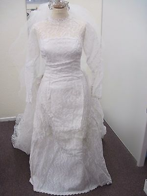 Vintage White Lace Handmade A Line Wedding Dress with Train & Veil-Small