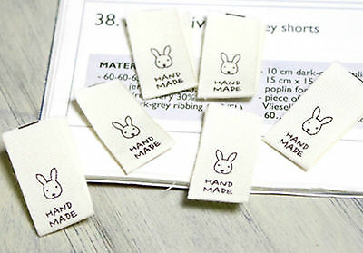 6 x Rabbit Labels / HAND MADE Labels / Sew on Animal craft fabric Labels (La160*