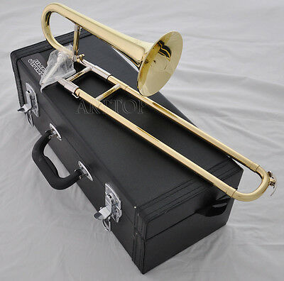 Top jinbao Gold lacquer Bb key Slide Trumpet soprano trombone horn with case