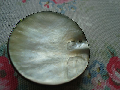 1 Large Vintage Silver Grey Mother of Pearl Button - Suit Coat / Bag