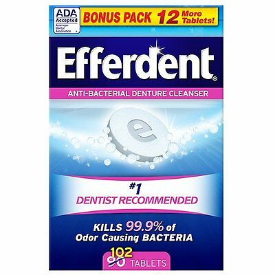 Efferdent Anti-bacterial Denture Cleanser Tablets, 102 Ct