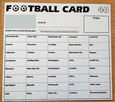100 Football Scratch & Match Cards 40 Team Names Named Fundraising Charity Event
