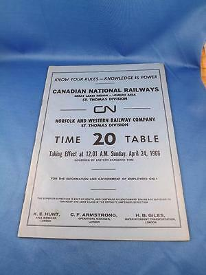 Canadian National Cn Norfolk And Western Railway Company Timetable #20 1966