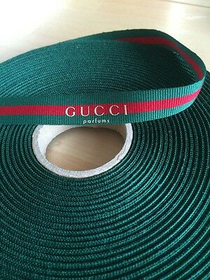 Gucci Parfums Ribbon In Green And Red, Approx 5 Metres