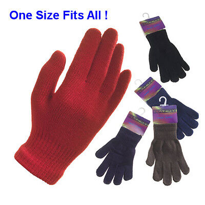 Handy Winter Uni-Sex MAGIC STRETCH GLOVES - One Size Fits All - Choose Colour