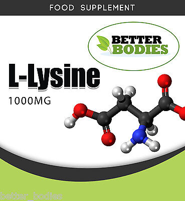 L-Lysine 1000mg Pack size 50 or 100 Cold sores Herpes Shingles