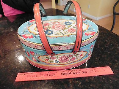 Vintage Metal Tin Oval With Handles Sewing Cookies Candy Picnic Floral Design