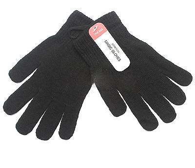Winter BLACK STRETCH MAGIC GLOVES - One Size Fits All - Value !! 1 or 3 Pairs