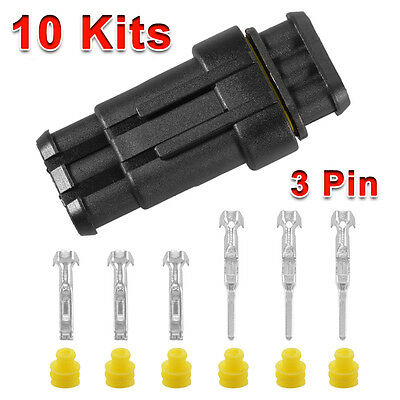 10 Kit Set Car 1/3/4 Pin Way Superseal Waterproof Electrical Wire Connector Plug