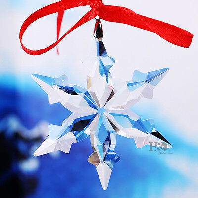 Clear Crystal Christmas Large Star Snowflake Suncatcher Prisms Ornament Gift Dec