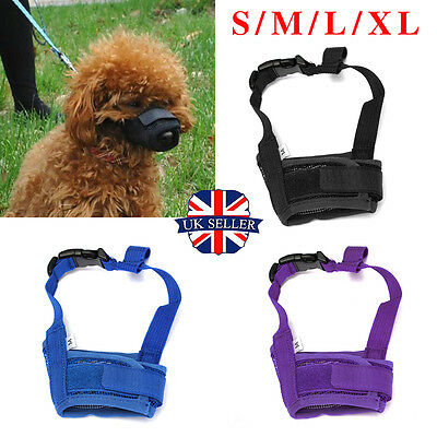 Dog Safety Muzzle Muzzel Adjustable Biting Barking Chewing Nipping Pet Puppy UK