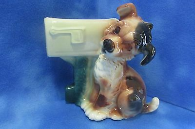 """Vintage Royal Copely Ceramic Puppy and Mailbox 9"""" Planter"""
