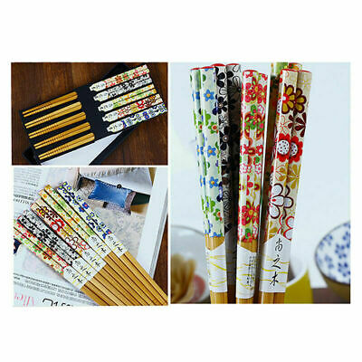 5 Pairs Chinese Natural Bamboo Chopsticks Set Value Gifts Pack Tableware Box
