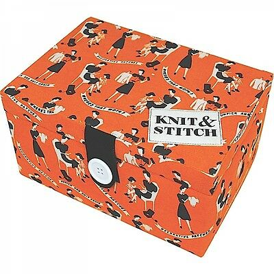 New Knit & Stitch Sewing Box Retro Make Do And Mend Design Gift For Her Storage