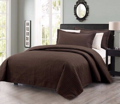 Chezmoi Collection Modern Quilted Coverlet 3-piece Set King, Chocolate