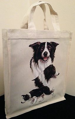 Border Collie Natural Cotton Small Fun Party Bag Tote with Gusset Useful Gift
