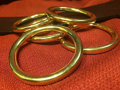 """1.5"""" I.D. x 6mm Solid Brass Cast O Rings for Belts Tack SCA LARP Medieval Faire"""