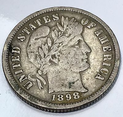 1898 Barber Dime - 10C - US 90% Silver Coin #01